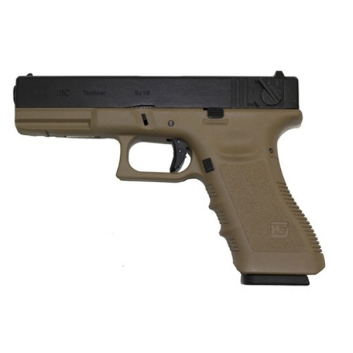 WE EU18C Full Auto GBB pistol Gen3 Tan i gruppen Airsoft / Airsoft Pistoler hos Wizeguy Sweden AB (AS-we-gun-0018)